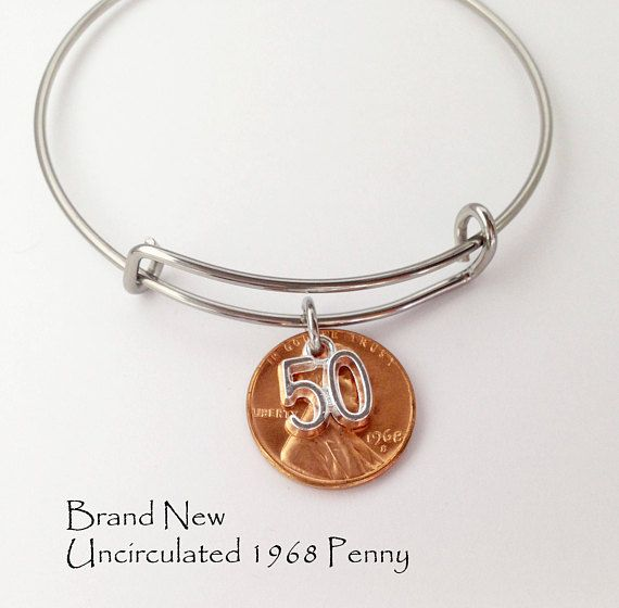 50th Birthday, 50th Birthday Gift for Women, 50th Birthday Gift, 50th Anniversary Gifts, 50 Birthday, 50 th Birthday Gift, 50th Birthday Party, 1968 Birthday, Fifty Birthday, 50 and Fabulous, Fifty and Fabulous This 1968 penny bracelet is the perfect 50th Birthday Gift for that