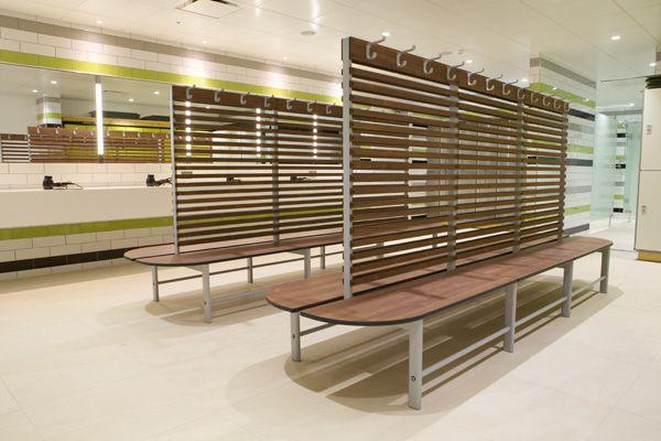 Changing room binns bespoke solid grade laminate bench