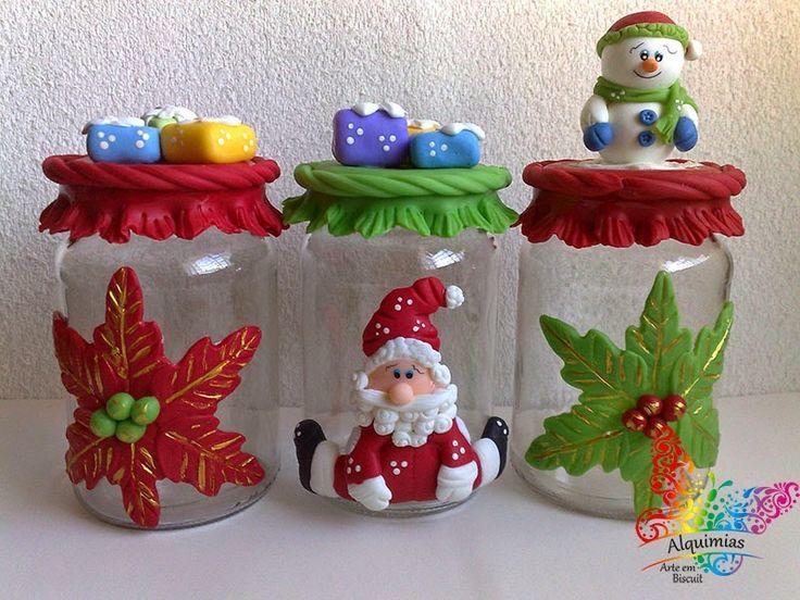 Potes para Guloseimas Decorados com Biscuit Tema Natal.