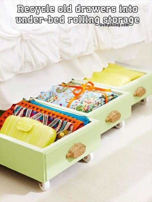 Recycle Old Drawers Into Under bed Rolling Storage