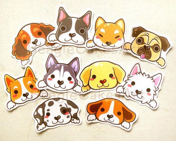 Pegatinas lindo perro: Perrito Kawaii pegatina, Erin Condren pegatinas, Sticker Animal Pack, regalo para los amantes del perro, decoración del libro de recuerdos, etiqueta engomada del barro amasado