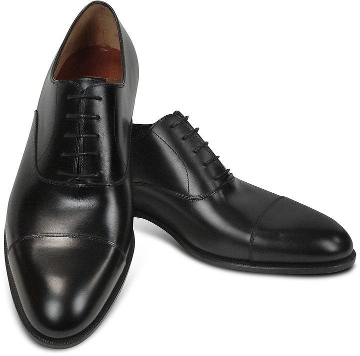 Fratelli Rossetti Designer Shoes, Dark Calf Leather Cap Toe Oxford Shoes