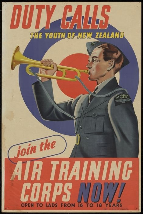 Artist unknown :Duty calls the youth of New Zealand. Join the Air Training Corps now! Open to lads from 16 to 18 years. Offset - C.M. Banks Ltd, Wellington [1942]