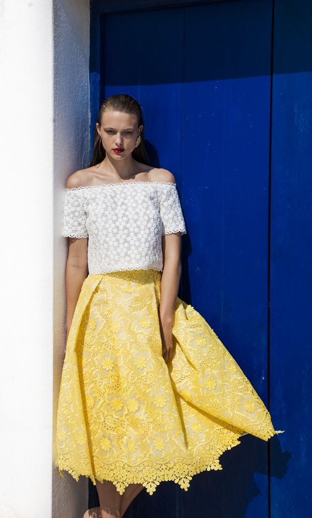 SS 1795 Off-The-Shoulder Chantilly Lace Top, White SS 1736 Midi Brocade Organza Skirt, Yellow