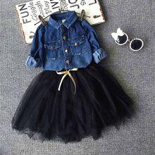 Toddler Girls Outfits denim shirt+tutu skirt set Baby girls Clothes Set,children Outwear Autumn Winter kids christmas outfits(China (Mainland))