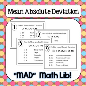 Super fun activity to practice finding the mean absolute deviation of a data set! $