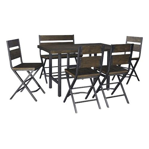 Ashley Signature Design Kavara 6-Piece Rectangular Dining Room Counter Table w/ Pine Veneers w/ 4 Bar Stools w/ Shaped Foot Rest and Double Bar Stool Set