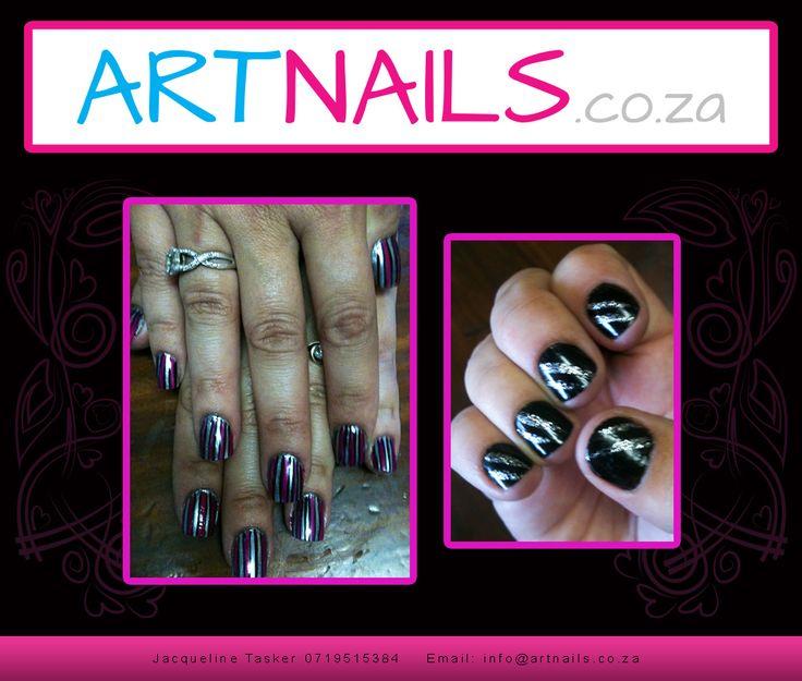 black silver stripes overlay acrylic nail art onto natural nails