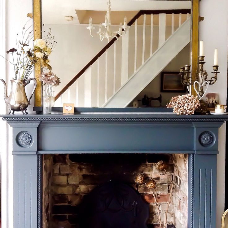 Farrow and ball Downpipe Fire surround by Emma Connolly Designs.