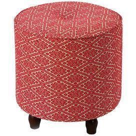 """Round tufted ottoman with a wood base and Moroccan-print upholstery. Product: OttomanConstruction Material: Wood and linenColor: Red and cream Dimensions: 17"""" H x 16"""" Diameter Cleaning and Care: Dry wipe clean with a cloth"""