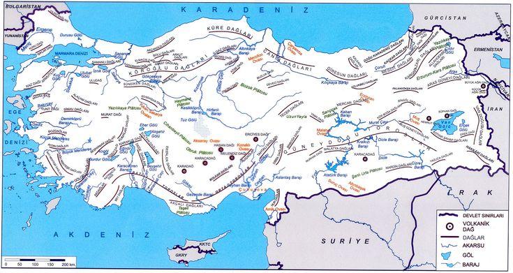 Türkiye Dağlar Akarsular Göller ve Barajlar Haritası Büyük