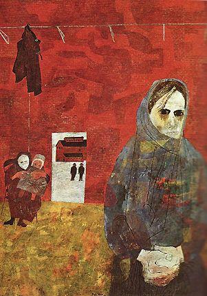 Femmes de mineurs, 1968, Ben Shahn (Shahn veut secouer la conscience des classes privilégiées avec la représentation de la douleur des pauvres)
