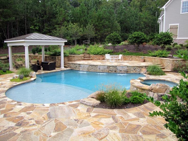 Pool with Pavilion, large sunshelf, blue lagoon pebble-tec