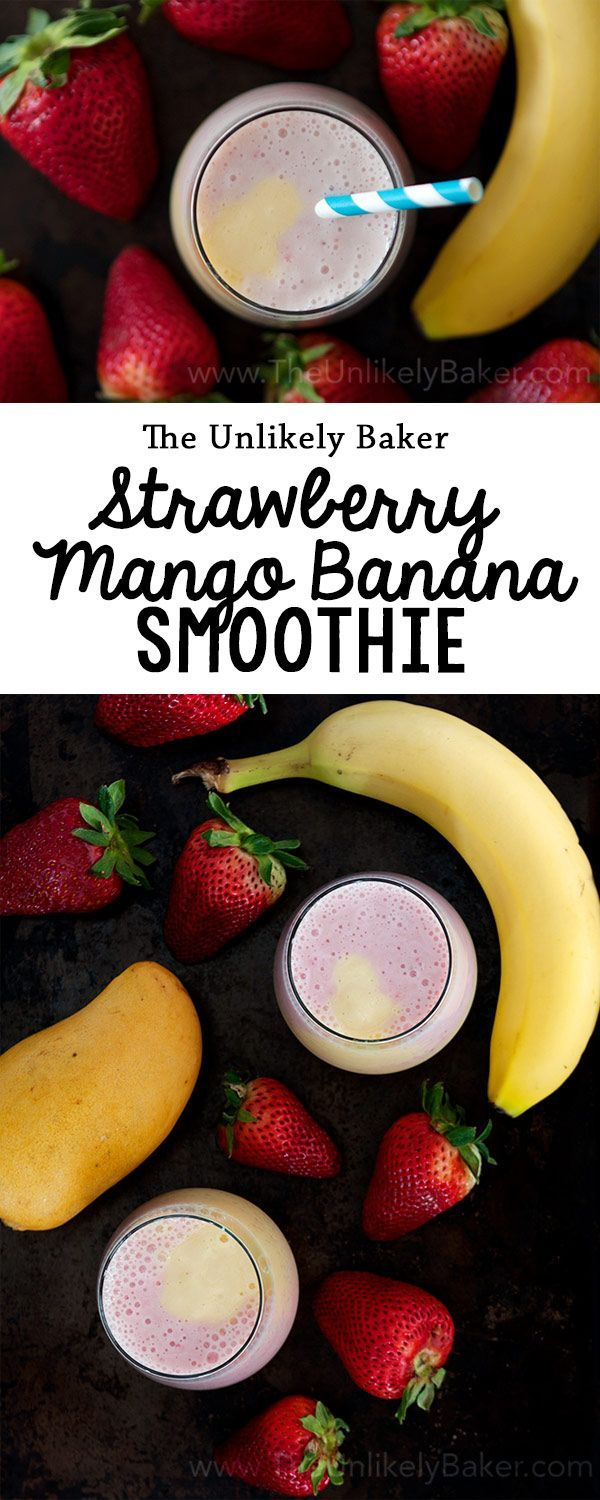This strawberry mango banana smoothie is summer in a glass!
