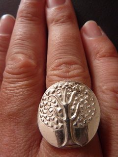 Tree Of Hearts fine silver ring hand-crafted from precious metal clay
