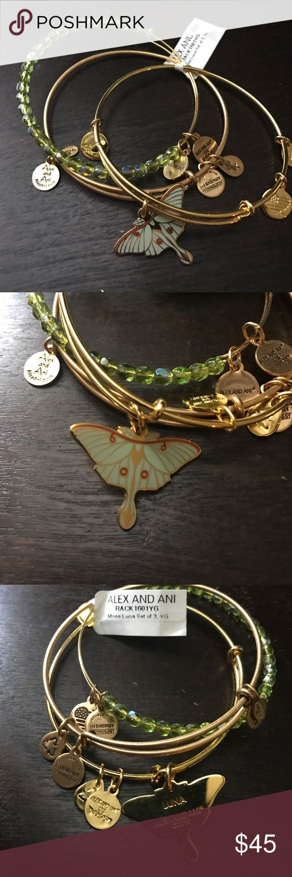 Alex and Ani bundle Alex and Ani set of 3 bracelets. One is a beaded moss color, one is gold with the Alex and Ani logos and lastly is a beautiful shiny gold Luna moth with beautiful detailing. And retired snowflake bracelet set. All are new with retail tags Alex & Ani Jewelry Bracelets