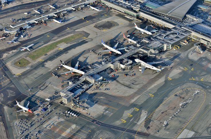 The Pier C seen from a flights view. A nice and sunny day at Copenhagen Airport.