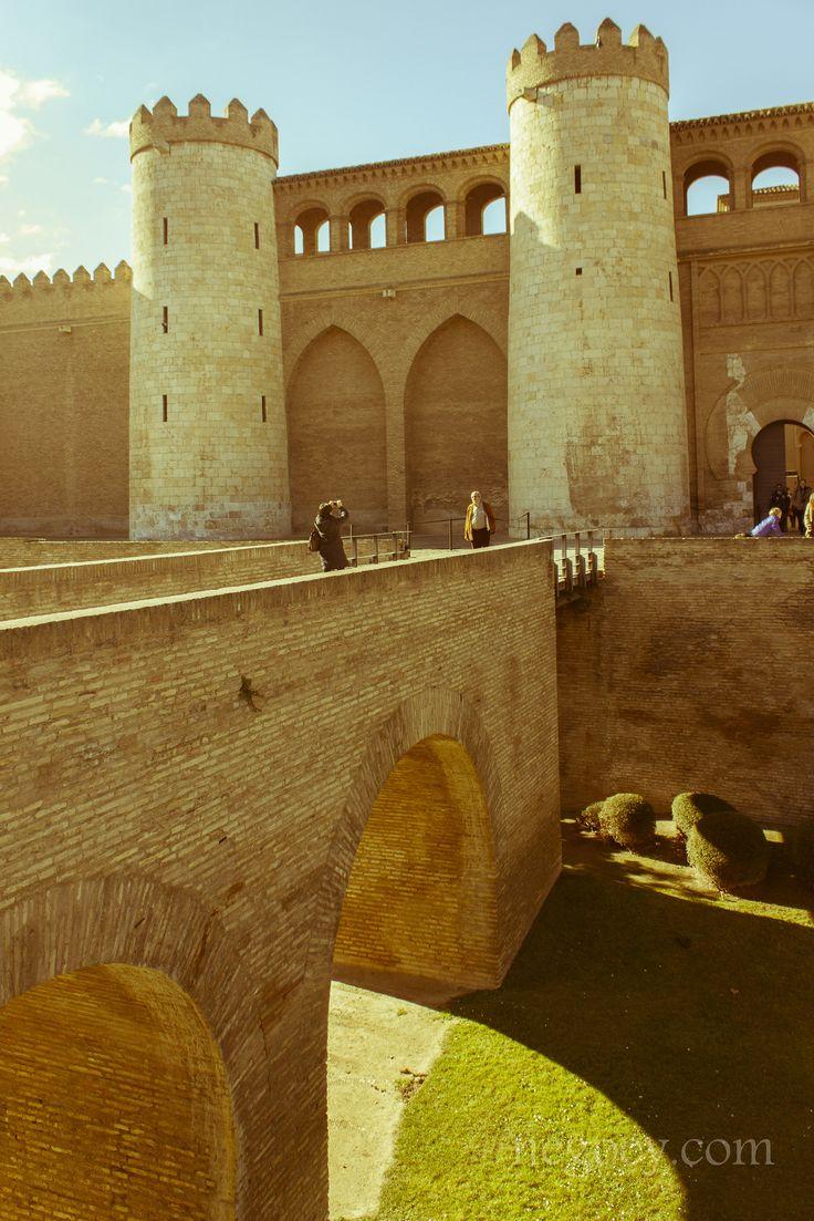 Palacio de la Aljafería (Aljafería Palace), a fortified medieval Islamic palace built during the second half of the 11th century in the Moorish taifa of Zaragoza of Al-Andalus, present day Zaragoza, Spain.