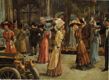 This was a scene in London in the early 1900's - similar to what Shelby would have scene when she watched Geoff come out of Hatchards with his friends.
