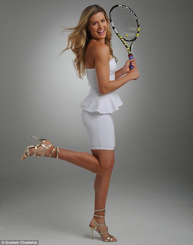 Ace: Canadian tennis star Eugenie Bouchard holds a racket for the camera in our exclusive photo shoot