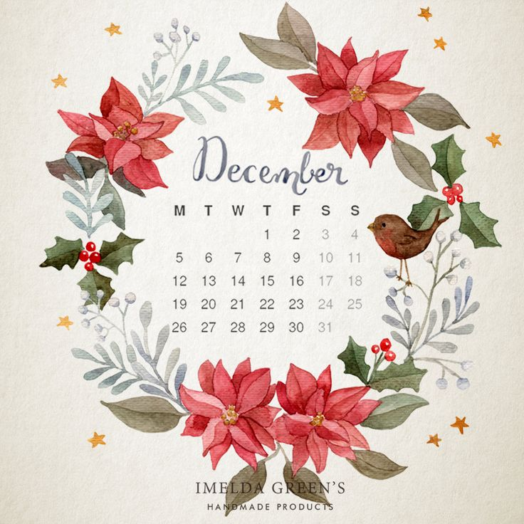 Hand-painted wallpaper calendar for December free download