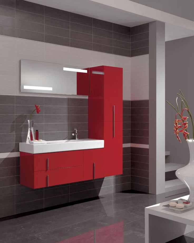 Love red and gray bathrooms pinterest - Salle de bain rouge et noir ...