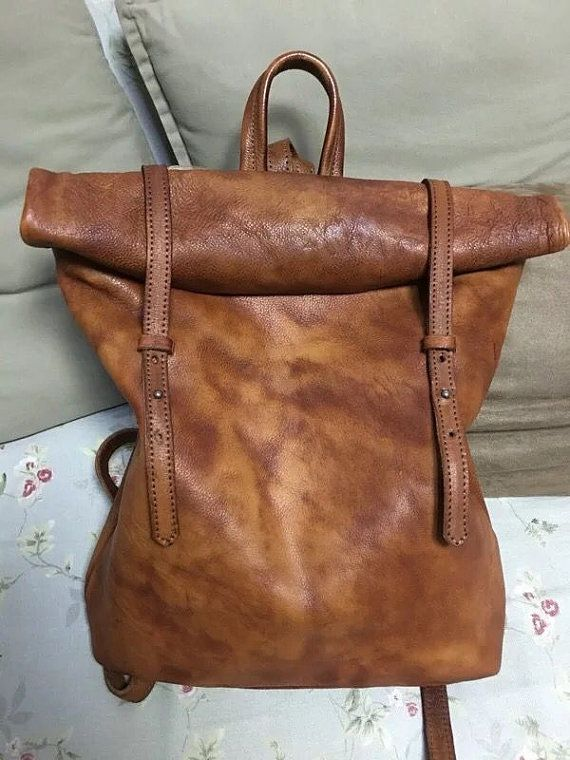 Handmade vintage style leather big large backpack Genuine Leather backpack for Men&women/Leather backpack Roll top backpack