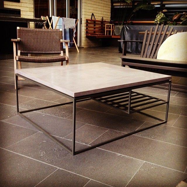 POPconcrete RAW steel coffee table with POPconcrete top
