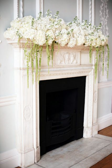 Hydrangea arrangement on the mantelpiece…love the different heights and Green Amaranthus on sides hanging down