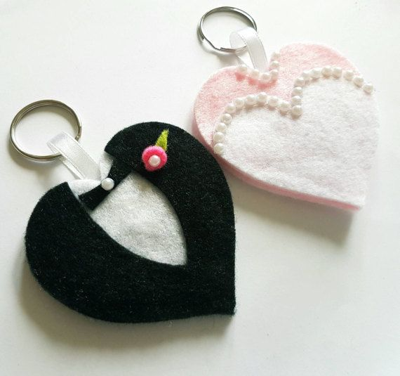 Check out this item in my Etsy shop https://www.etsy.com/uk/listing/506115799/felt-bride-and-groom-keyring-keychain