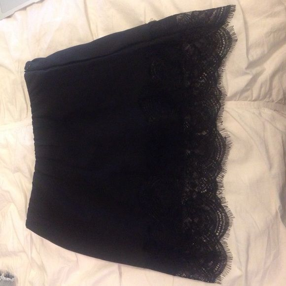 fun skirt for a night out plain black skirt with lace on the bottom showpo Skirts