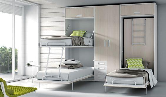 Camas con sistemas abatibles. Perfecto para espacio reducido, o porque es una habitación de uso esporádico. También sofás y literas.