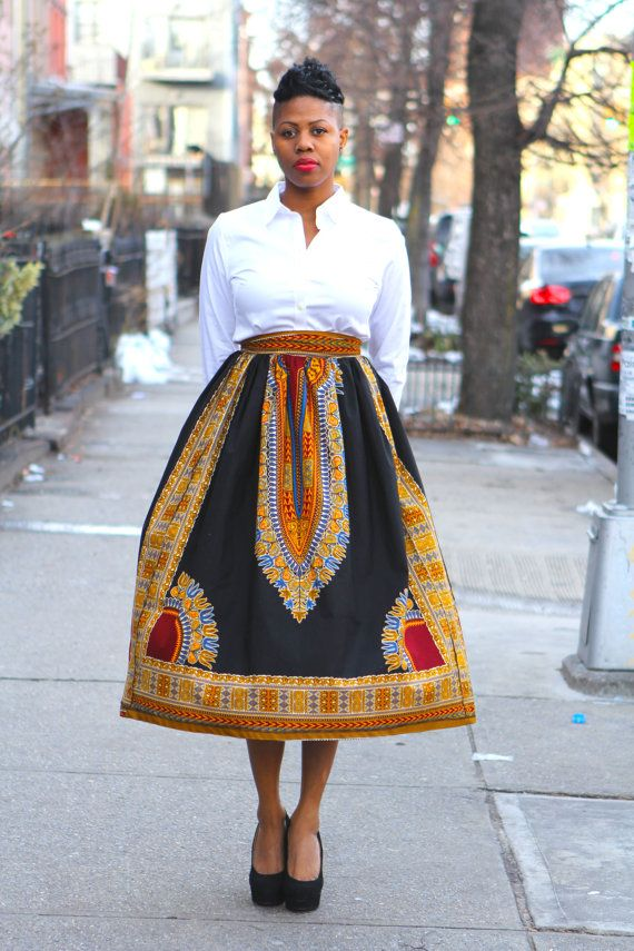 Beautiful Black Angelina (same skirt as pictured but with fabric in last pic)  Ready to ship from Brooklyn, NY in 3-5 business days.  Rush orders available. Contact us for details.  Details of skirt: 100% cotton genuine wax African print fabric thick waistband 2 side pockets  Measurements: 34 inch waist (size usa 14)  Please read our store polices before purchasing https://www.etsy.com/shop/tribalgroove/policy?ref=shopinfo_policies_leftnav  **International shipping costs for this listing…