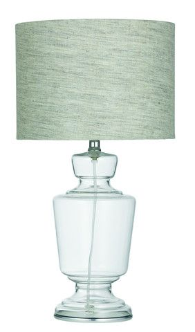 Clear Glass Table Lamp - Linen shade - french  provincial - hamptons