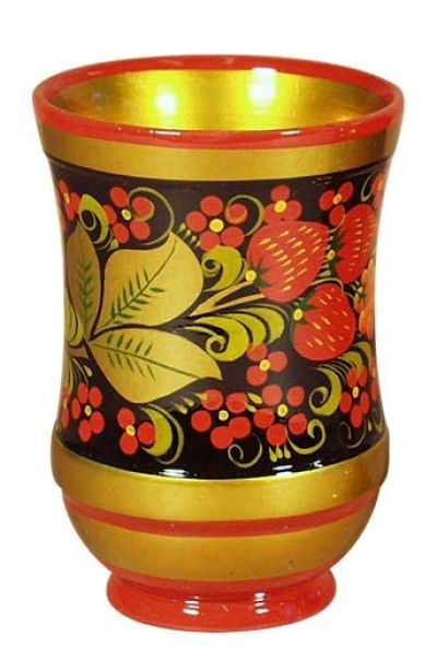 Tall wooden pot decorated with traditional Khokhloma painting from Russia. #folk #art