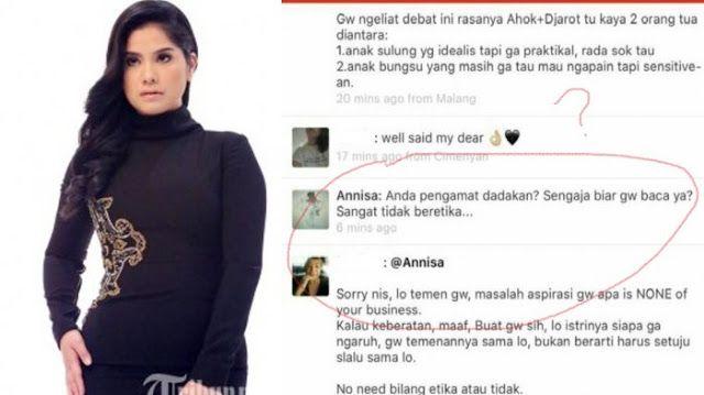 Annisa Pohan Minta Maaf Setelah 'Ngamuk' di Path Ini Nasehat Netizen  Nusantarasatu.net - Annisa Pohan meminta maaf kepada publik menyusul tersebarnya screenshot percakapannya di Path. Melalui akun Twitter @AnnisaPohan istri Agus Harimurti Yudhoyono ini menuliskan permohonan maaf tersebut.Dg kerendahan hati saya memohon maaf kpd masyarakat yg tidak berkenan dg hak menjawab saya dalam membela suami saya kpd teman saya sendiri. Pernyataan yang sama juga ia tuliskan di akun instagram…