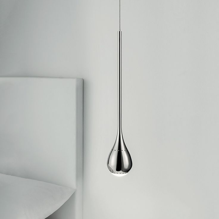 Chelsom Teardrop Pendant - Contemporary steel pendant light with a polished chrome finish from Chelsom. The Teardrop Pendant has a round ceiling rose from which hangs an elegant individual teardrop light source in a polished chrome finish with warm white LED light. Offering optimum down light, the teardrop comes with small ventilation holes that allow light and heat to escape. The gorgeous lighting solution will make a great addition to your home interior, mainly the hallway, lounge or di...