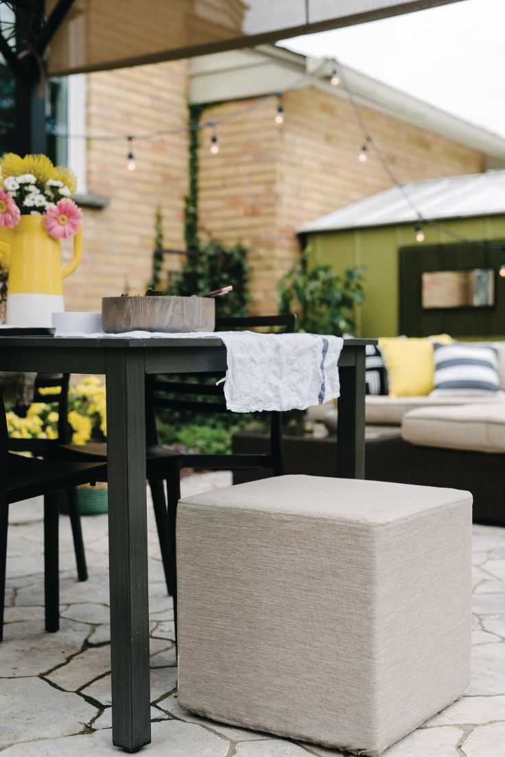 Sabrina tackles her patio for a summer makeover just in time for BBQ season. Lounge area meets dining area in her eclectic design featured in Hello Sunshine by Leon's Furniture.