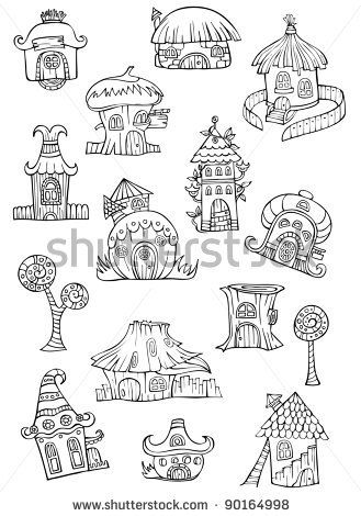Sketch of cartoon vector houses. Series separate lodge. - stock vector