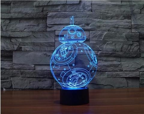 Star Wars BB-8 colorful LED 3D  Illusion nightlight