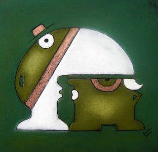 """ninaboosart: """"Unter der Haube"""" Pastell Zeichnung Abstrakt Humor..."""
