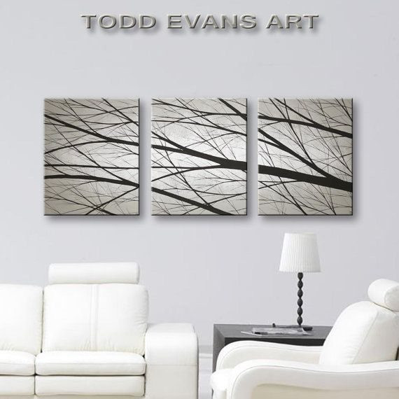 ★ Hand painted by Todd Evans  ★ Original Acrylic Painting. (Not a print.)  ★ Large 3 Piece hand painted set  ★ Grey background with white glow  ★ Black Silhouette trees  ★ Matte Finish  ★ 48x20 inches total - Three 16x20 panels - 1 Thick  ★ Approximate metric measurements: 122cm x 50cm.  ★ Archival, acid free, stretched canvases on wood frames  ★ Staples are on the backs and not visible.  ★ Wires are attached to the backs for easy hanging.  ★ Unframed. (framing not needed)  ★ The sides of…