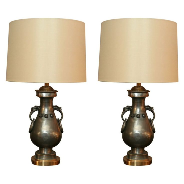 Pair of Asian Modern Pewter and Brass Table Lamps 1