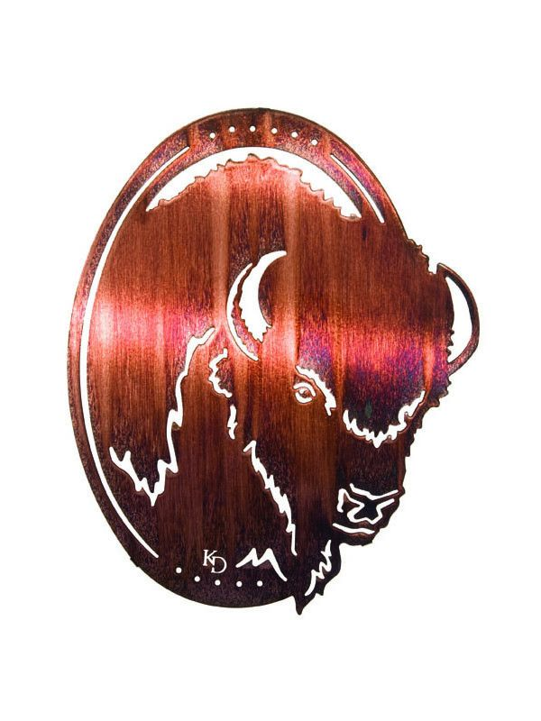 """Dimensions: 16""""H x 10""""W Color: Brown and bronze Description: The head of a grand bison is depicted in an ovular frame and features cutouts that seem to bring this Western icon to life right on your wa"""