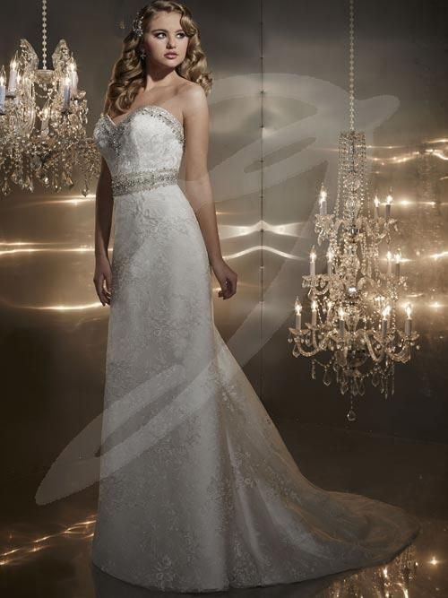 Balletts Bridal - 21297 - Wedding Gown by Jacquelin Bridals Canada - Strapless Lace gown with Heavily Beaded Strapless Sweetheart neckline and waistband. Full Lace detachable train. Slim Lace skirt