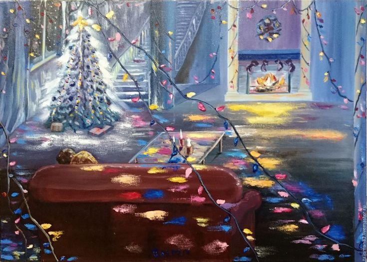 """Купить Картина маслом """"В новогоднюю ночь"""", новый год, подарок, синий интерьер - синий, голубой"""