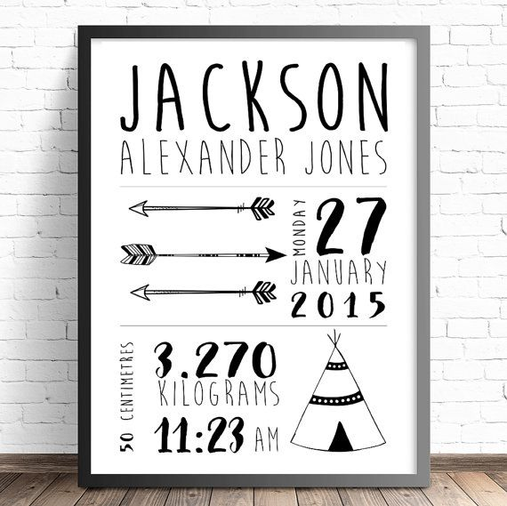 Personalised Tribal Birth Announcement Prints by TheKidsPrintStore. Tribal Nursery Decor. Boys & Girls Nursery and Bedroom Wall Art Decor Prints