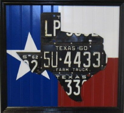 texas sign made of license plates for all of my Texas friends.... from a Texas Ex here in Montana