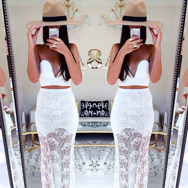 Mega babe @yiota wears the Thorn Lace Skirt and White Russian Bustier both available now at #SaboSkirt.com #Padgram