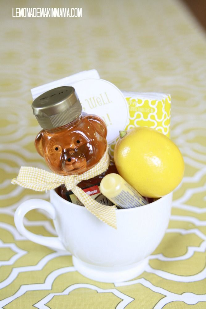 Get well soon gift: honey bear, tea, lemon, lip balm, pack of tissues  (from www.lemonademakinmama.com)
